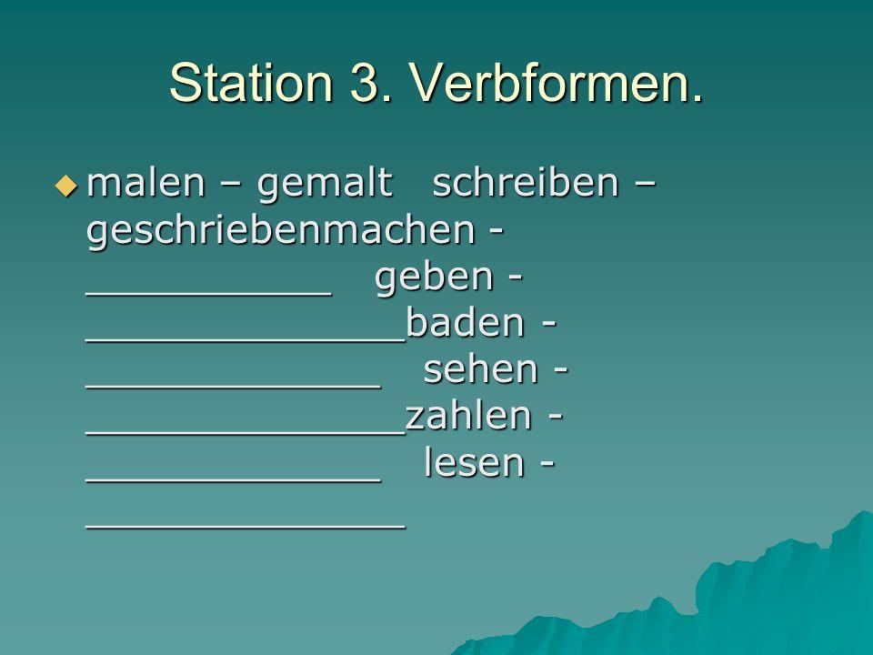 Station 3. Verbformen.