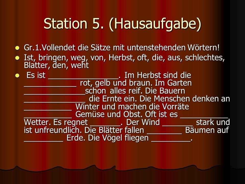 Station 5. (Hausaufgabe)
