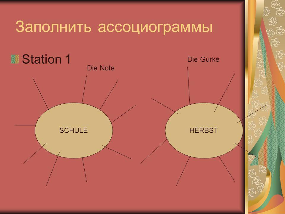 Заполнить ассоциограммы