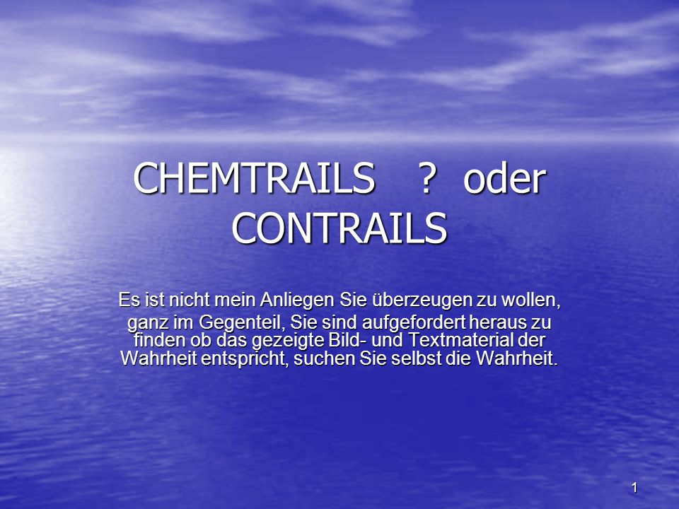 CHEMTRAILS oder CONTRAILS