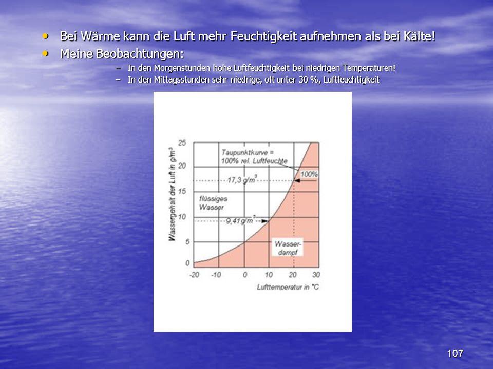 Bei Wärme kann die Luft mehr Feuchtigkeit aufnehmen als bei Kälte!