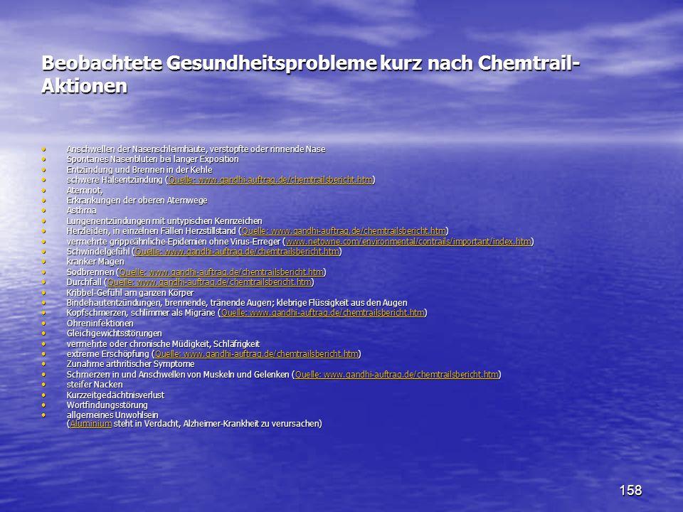 Beobachtete Gesundheitsprobleme kurz nach Chemtrail-Aktionen