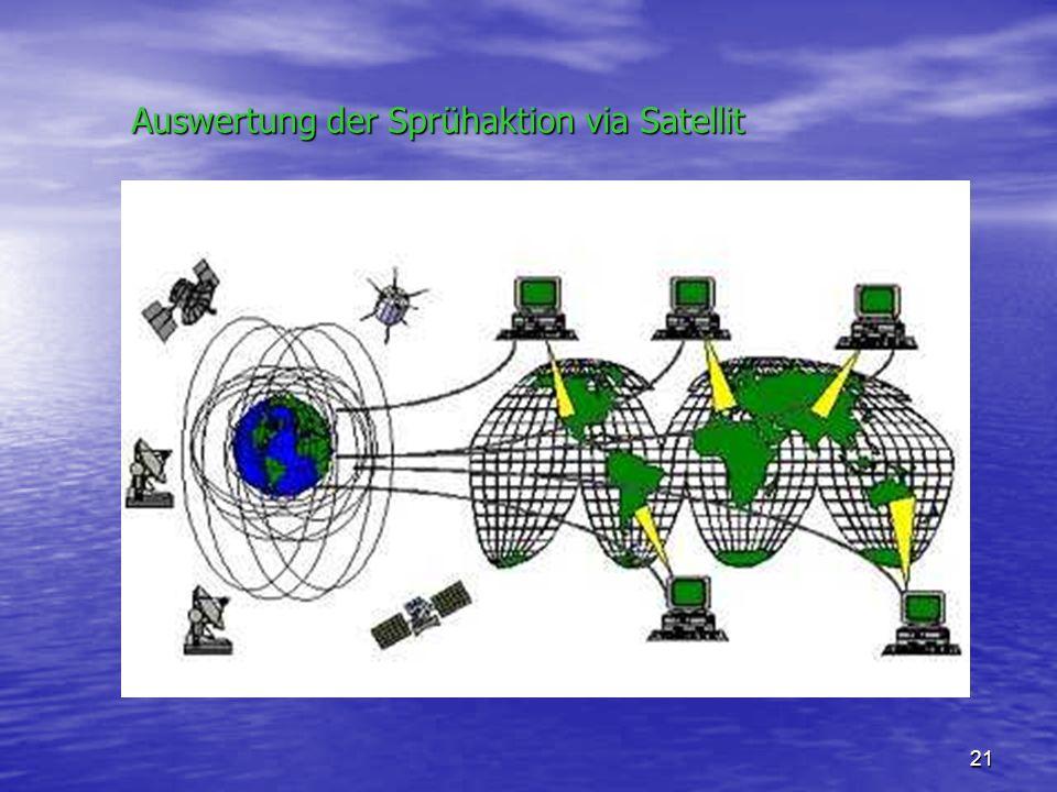 Auswertung der Sprühaktion via Satellit