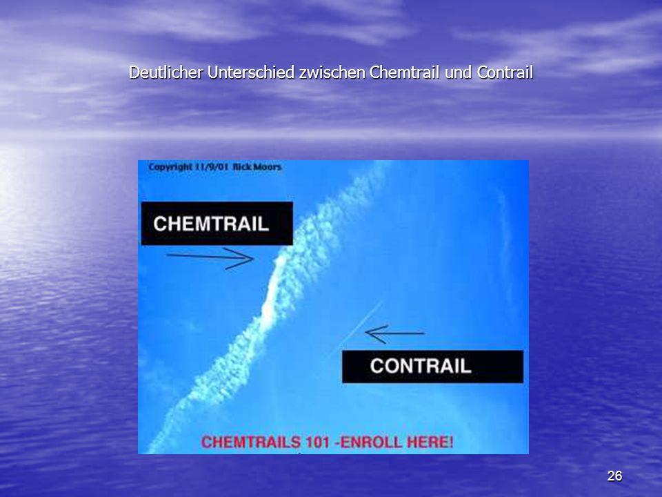 Deutlicher Unterschied zwischen Chemtrail und Contrail