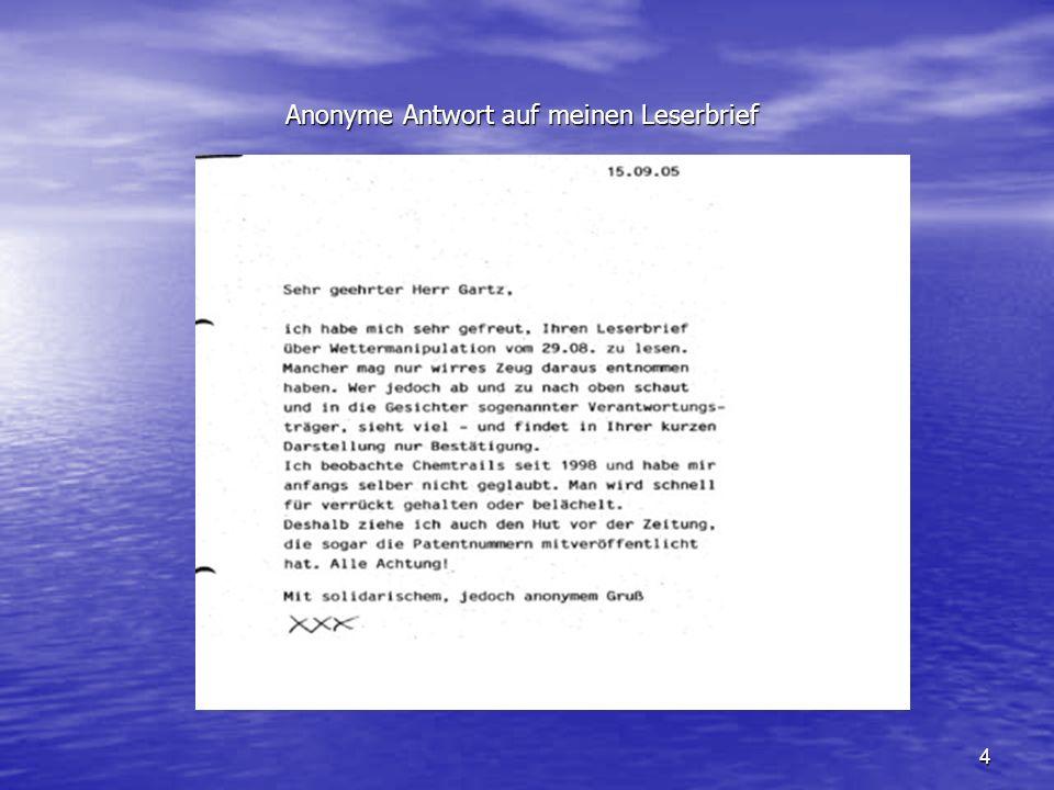 Anonyme Antwort auf meinen Leserbrief