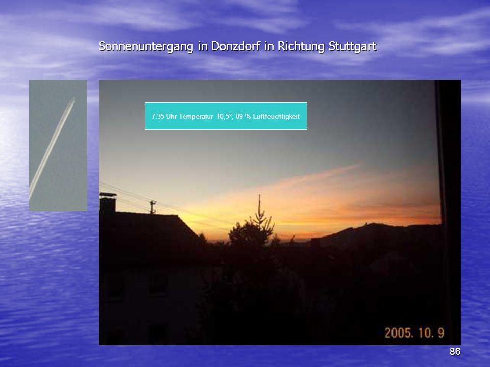 Sonnenuntergang in Donzdorf in Richtung Stuttgart