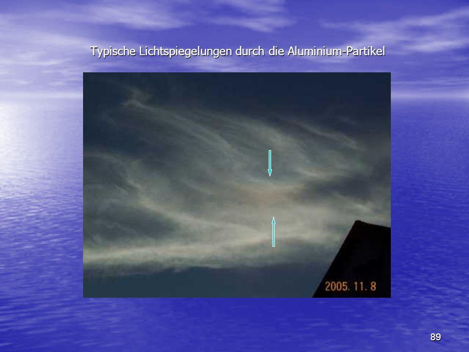 Typische Lichtspiegelungen durch die Aluminium-Partikel