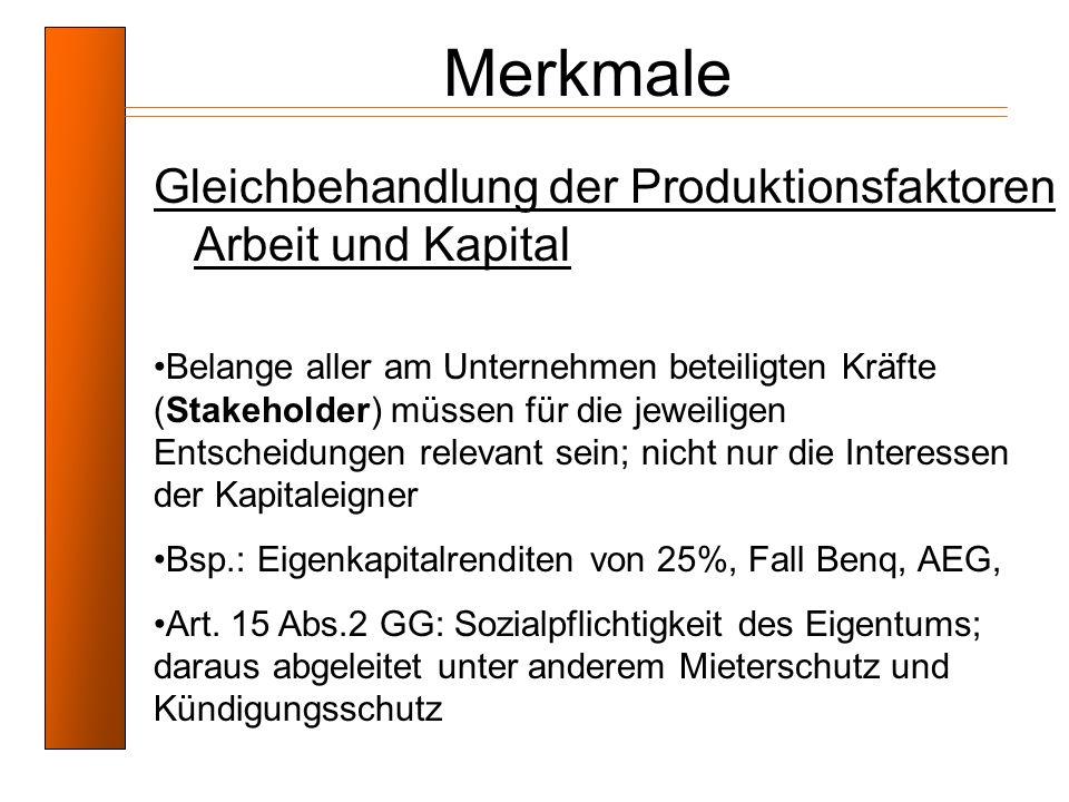 Merkmale Gleichbehandlung der Produktionsfaktoren Arbeit und Kapital
