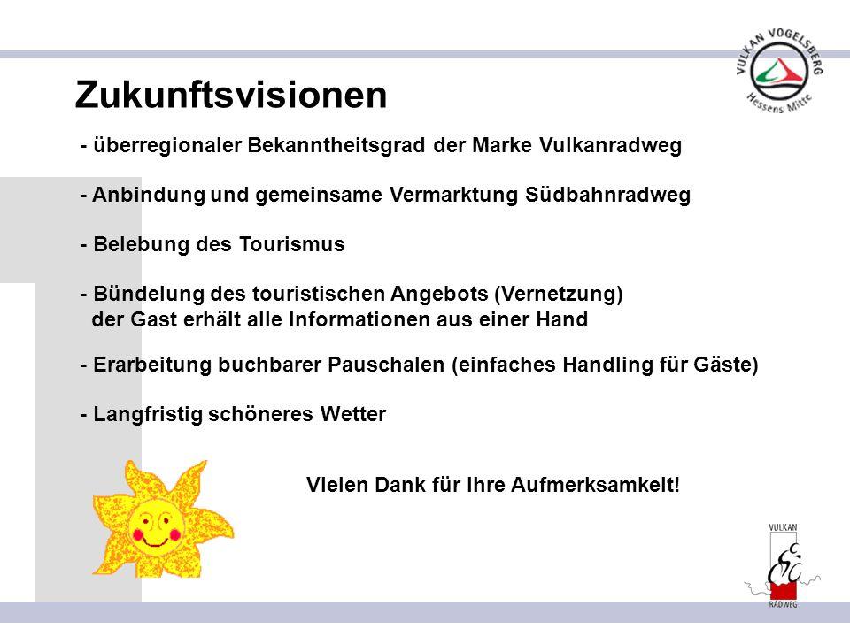 Zukunftsvisionen - überregionaler Bekanntheitsgrad der Marke Vulkanradweg. - Anbindung und gemeinsame Vermarktung Südbahnradweg.