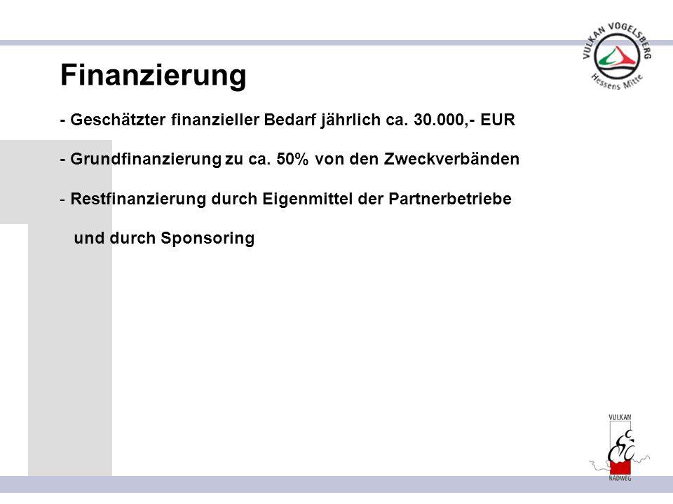Finanzierung - Geschätzter finanzieller Bedarf jährlich ca. 30.000,- EUR. - Grundfinanzierung zu ca. 50% von den Zweckverbänden.