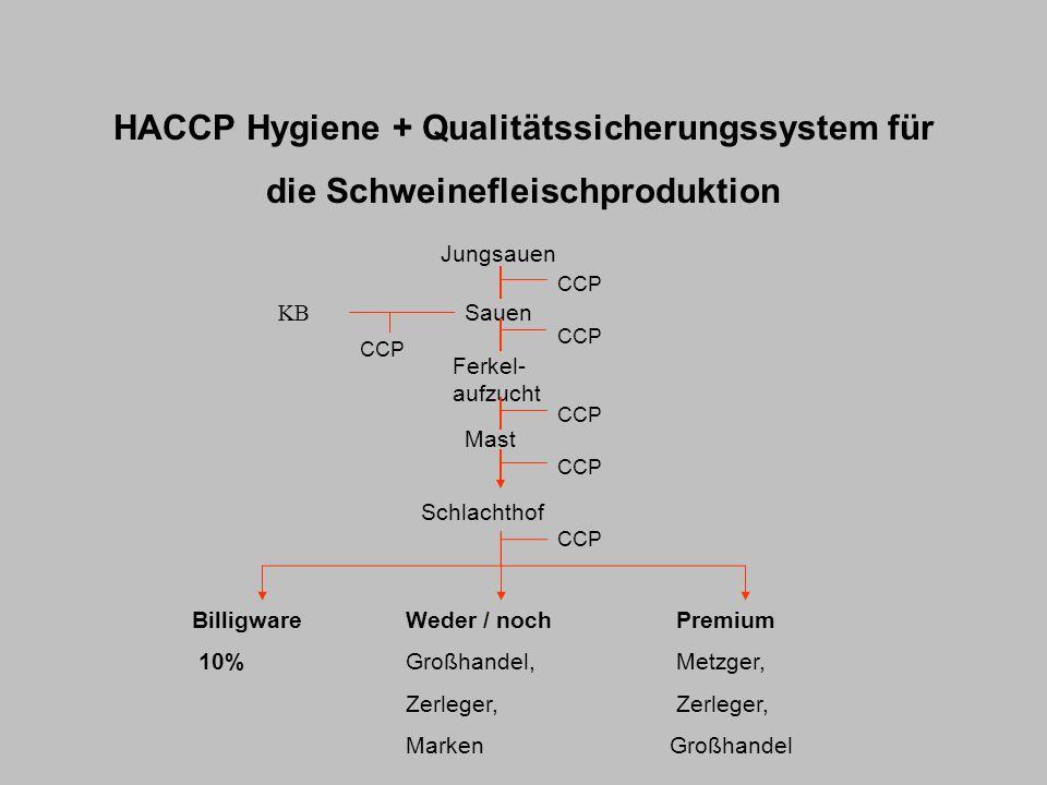 HACCP Hygiene + Qualitätssicherungssystem für die Schweinefleischproduktion