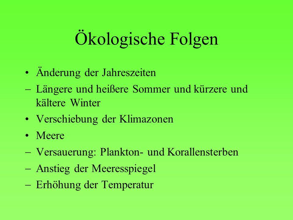 Ökologische Folgen Änderung der Jahreszeiten