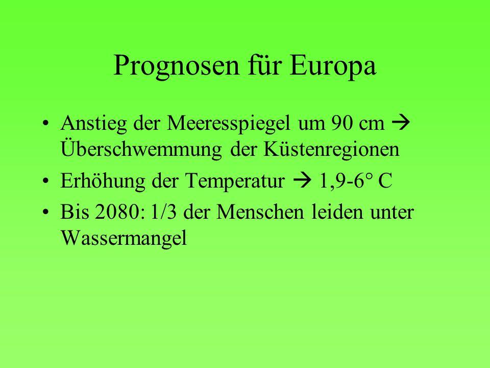Prognosen für Europa Anstieg der Meeresspiegel um 90 cm  Überschwemmung der Küstenregionen. Erhöhung der Temperatur  1,9-6° C.