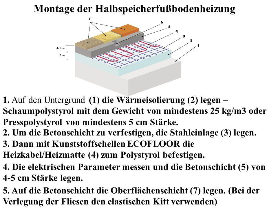 Montage der Halbspeicherfußbodenheizung