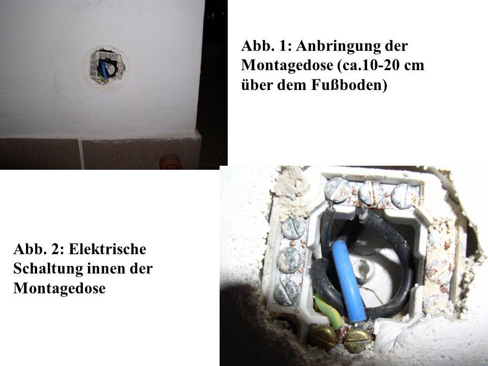 Abb. 1: Anbringung der Montagedose (ca.10-20 cm über dem Fußboden)