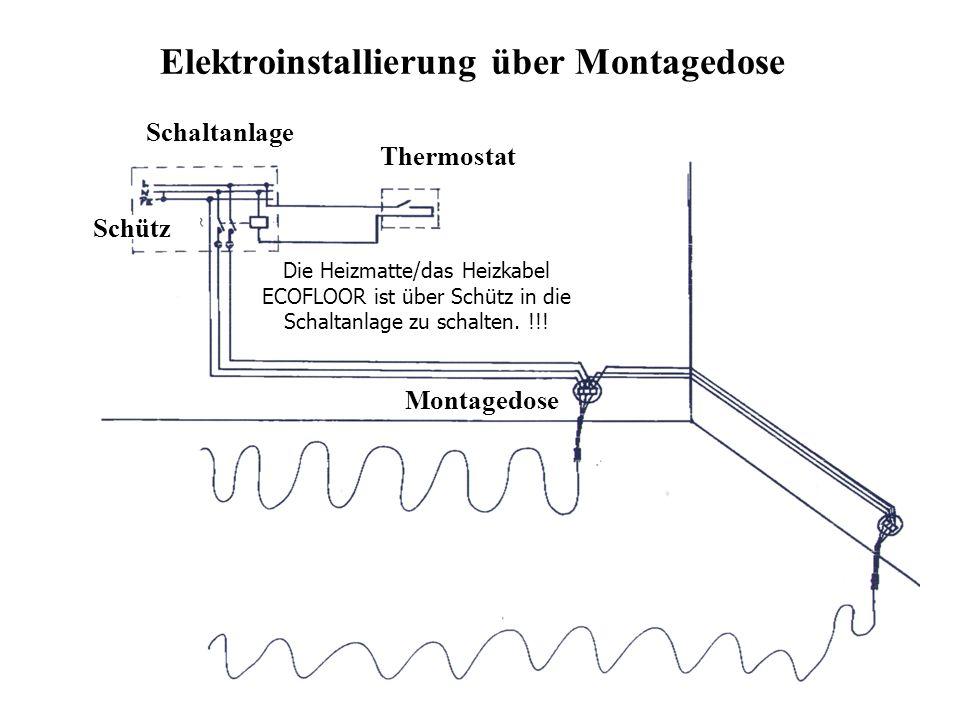 Elektroinstallierung über Montagedose