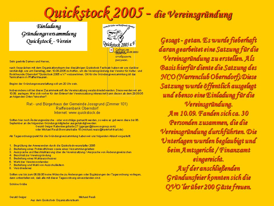 Quickstock 2005 - die Vereinsgründung