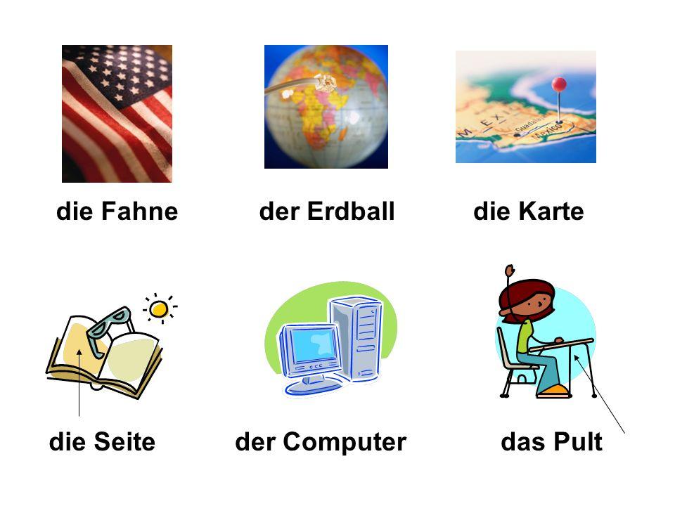 die Fahne der Erdball die Karte die Seite der Computer das Pult