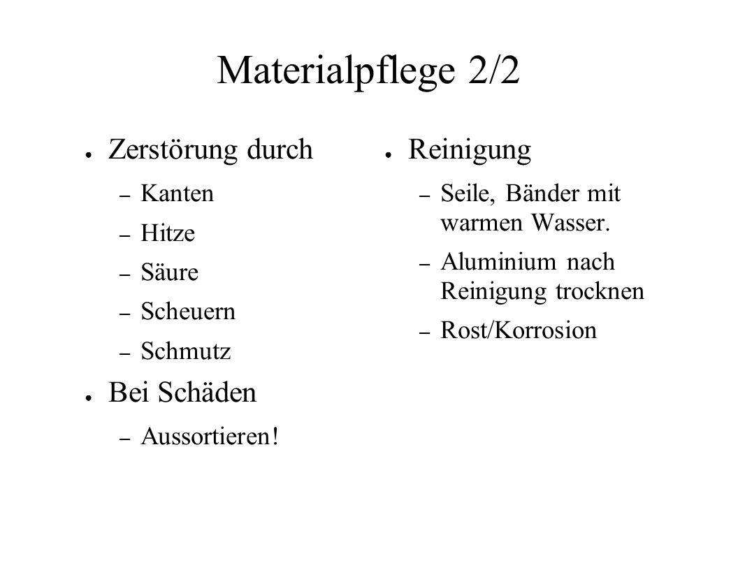 Materialpflege 2/2 Zerstörung durch Bei Schäden Reinigung Kanten Hitze