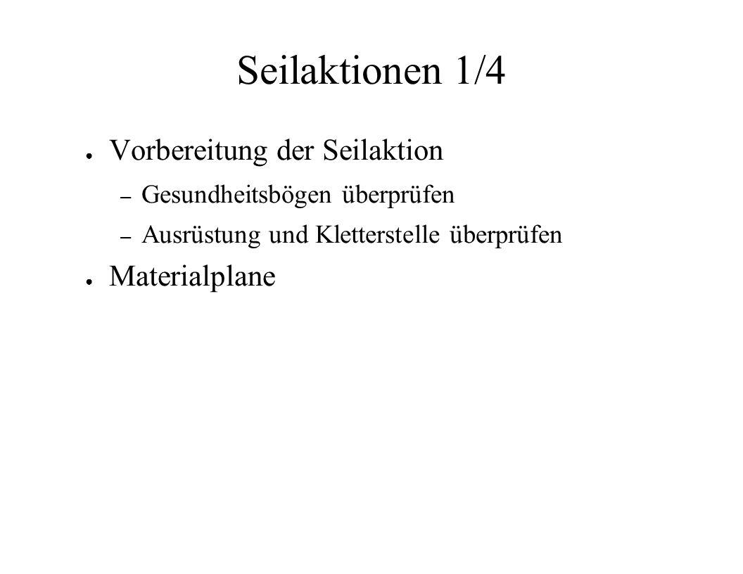 Seilaktionen 1/4 Vorbereitung der Seilaktion Materialplane