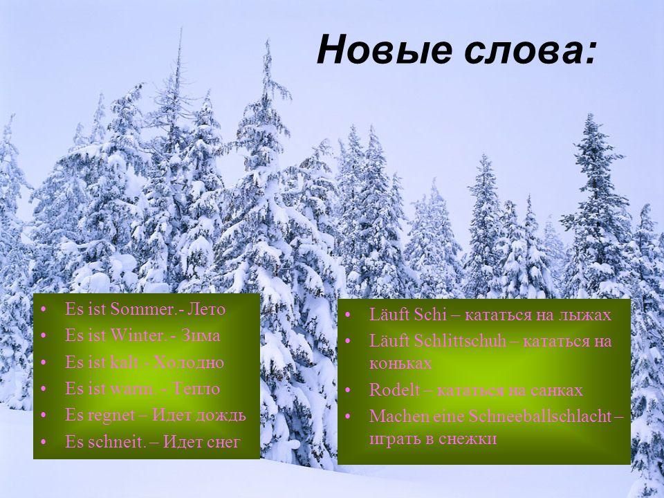 Новые слова: Es ist Sommer.- Лето Läuft Schi – кататься на лыжах