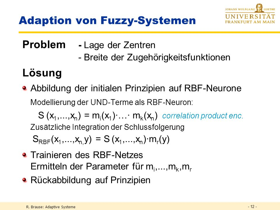Adaption von Fuzzy-Systemen