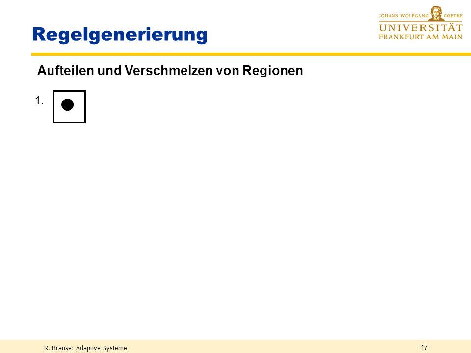 Regelgenerierung Aufteilen und Verschmelzen von Regionen 1. 2. 3. 4.