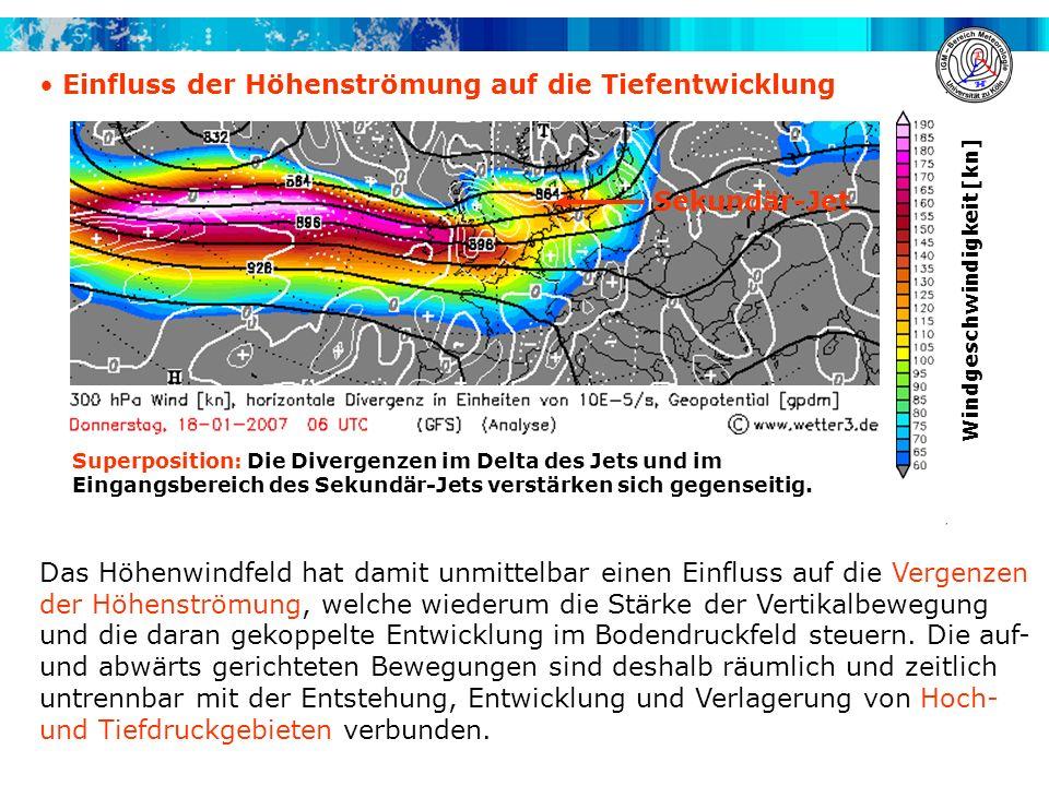 Einfluss der Höhenströmung auf die Tiefentwicklung