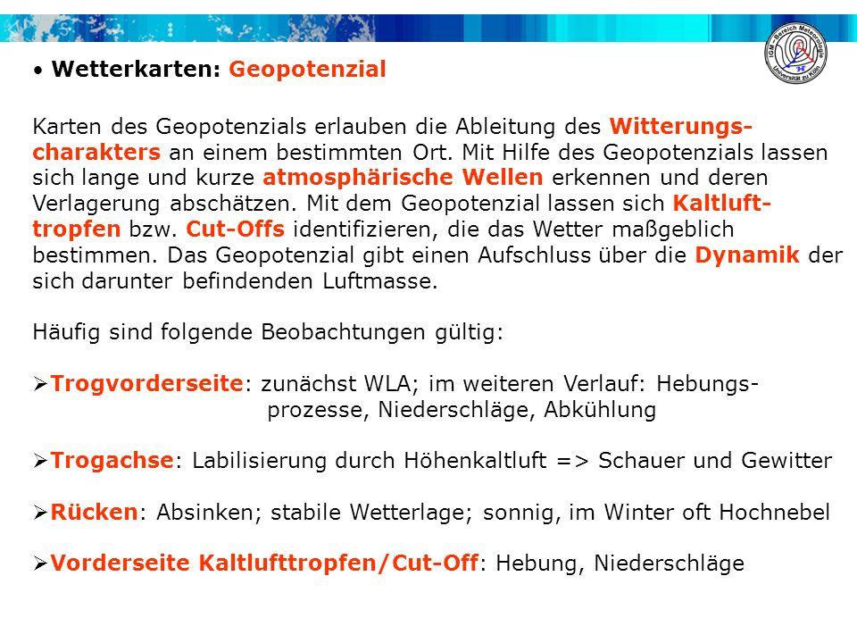 Wetterkarten: Geopotenzial