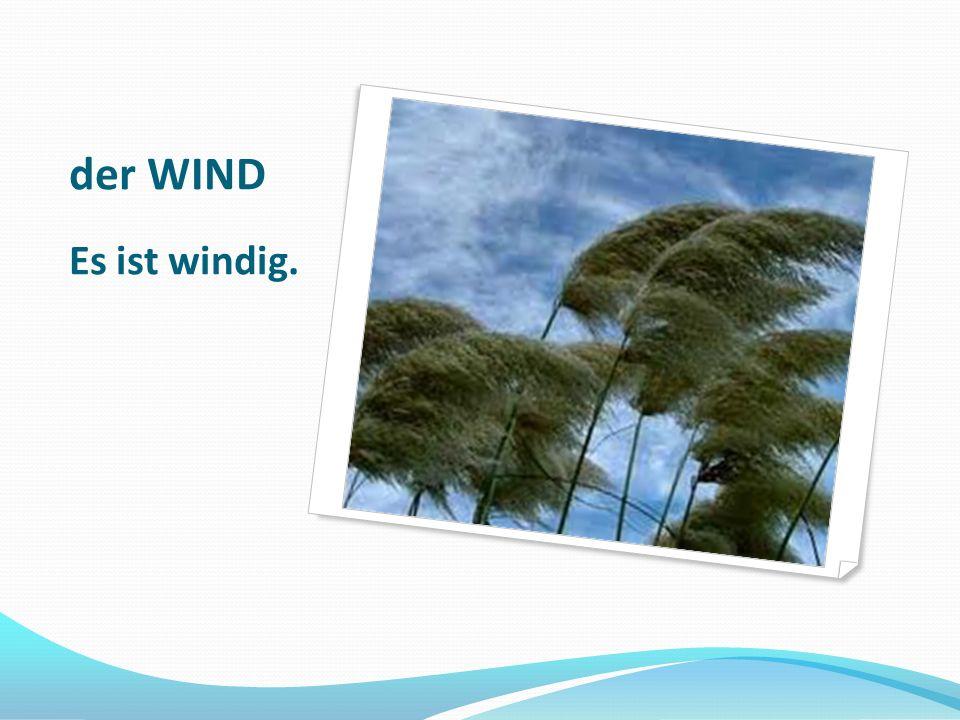 der WIND Es ist windig.