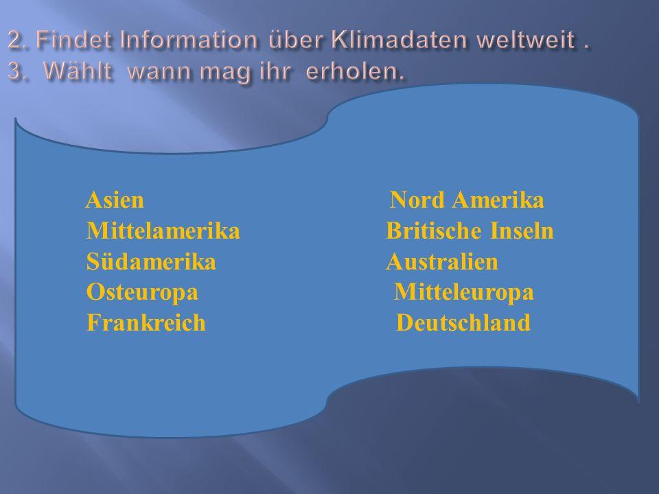 2. Findet Information über Klimadaten weltweit. 3