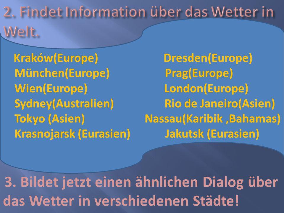 2. Findet Information über das Wetter in Welt.