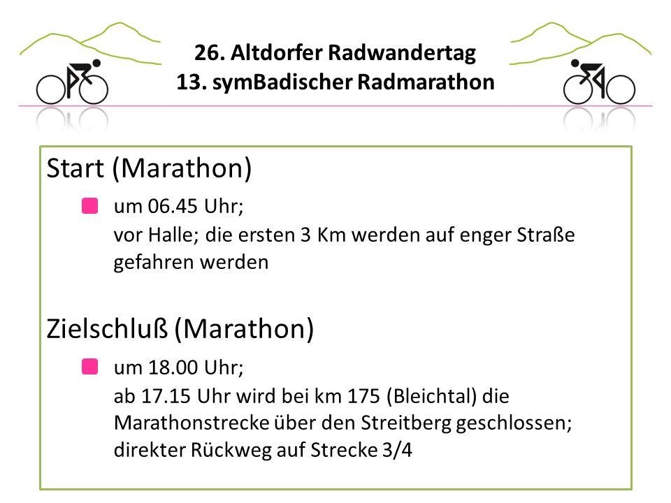 Start (Marathon). um 06. 45 Uhr;