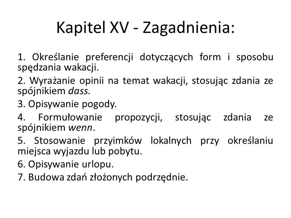 Kapitel XV - Zagadnienia:
