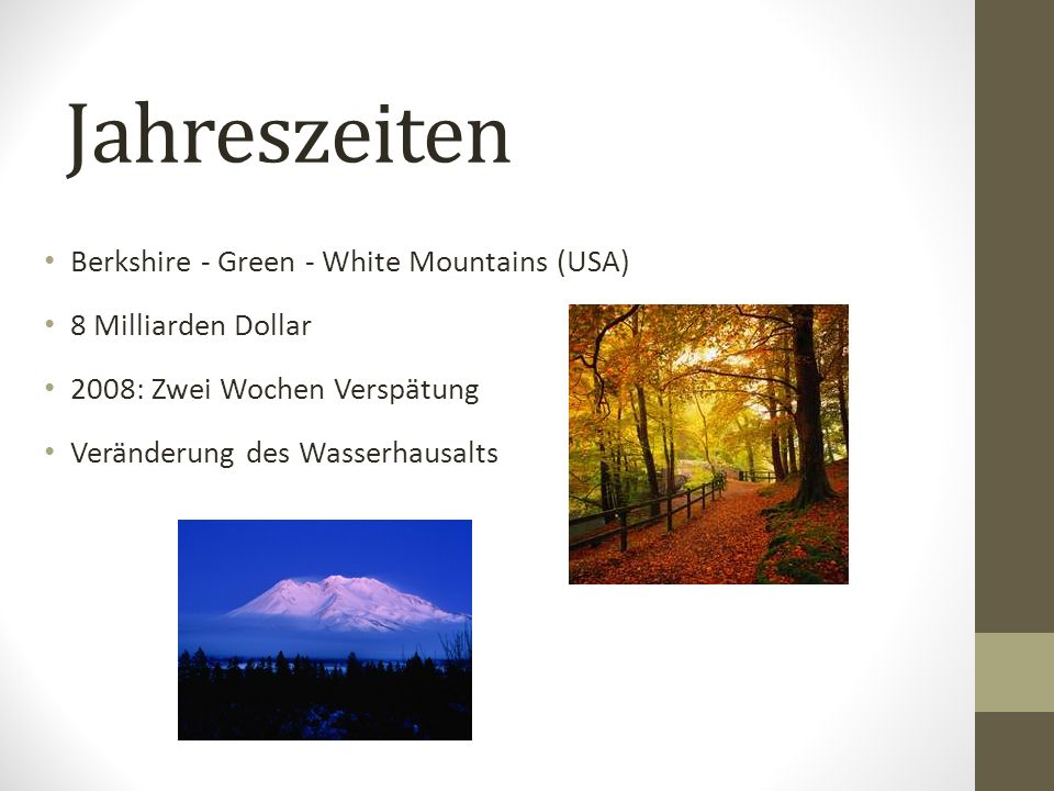 Jahreszeiten Berkshire - Green - White Mountains (USA)