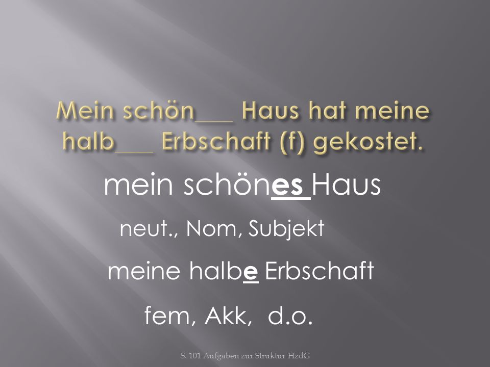 Mein schön___ Haus hat meine halb___ Erbschaft (f) gekostet.