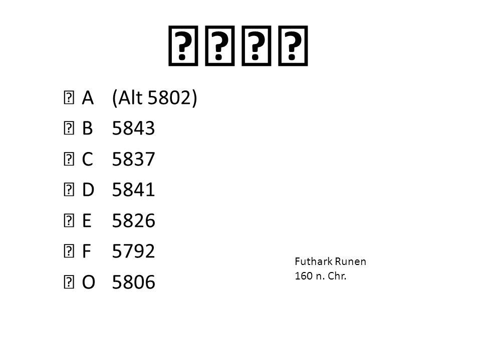 ᛍᚮᛑᛂᚪ A (Alt 5802) ᛓ B 5843 ᛍ C 5837 ᛑ D 5841 ᛂ E 5826 ᚠ F 5792 ᚮ O 5806 Aus dem Lateinischen entstanden.