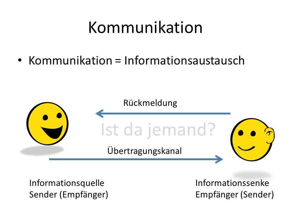 Ist da jemand Kommunikation Kommunikation = Informationsaustausch