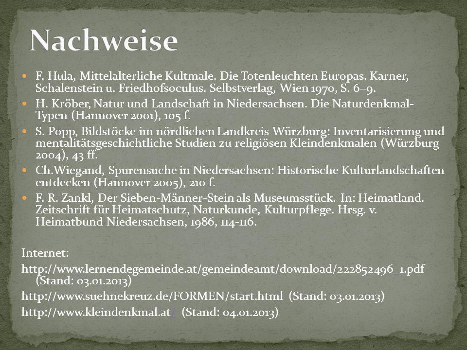 Nachweise F. Hula, Mittelalterliche Kultmale. Die Totenleuchten Europas. Karner, Schalenstein u. Friedhofsoculus. Selbstverlag, Wien 1970, S. 6–9.