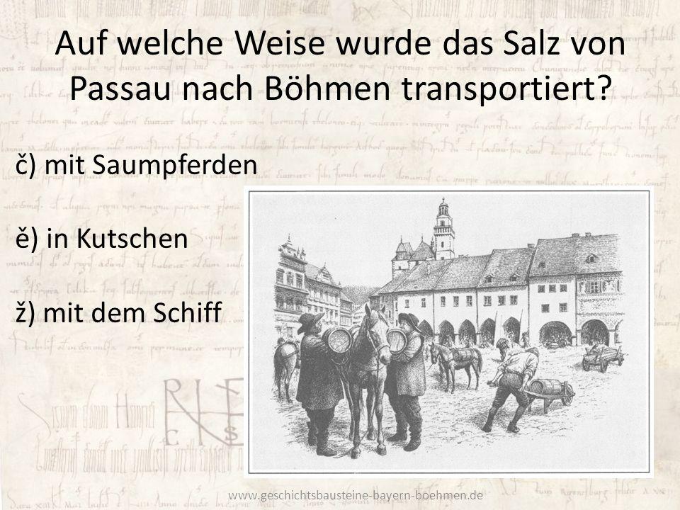 Auf welche Weise wurde das Salz von Passau nach Böhmen transportiert
