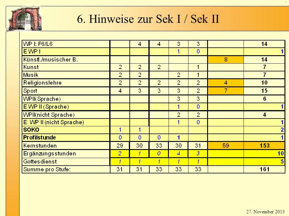 6. Hinweise zur Sek I / Sek II