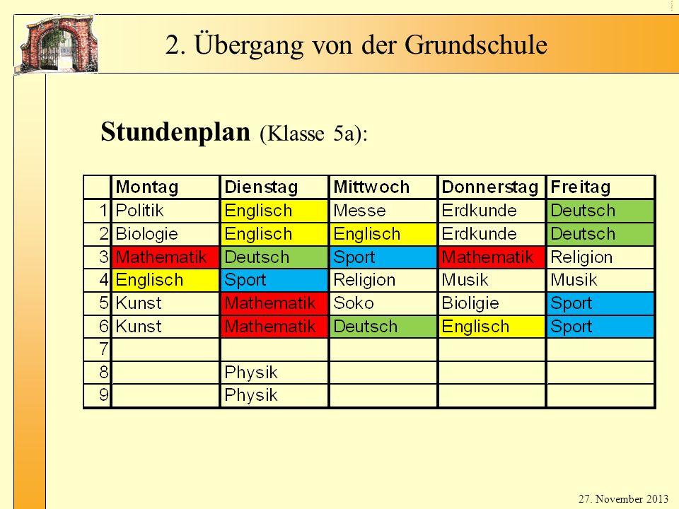Stundenplan (Hauptfächer)