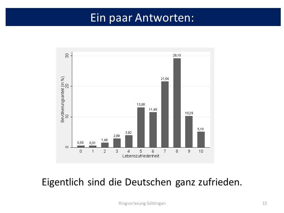 Ein paar Antworten: Eigentlich sind die Deutschen ganz zufrieden.