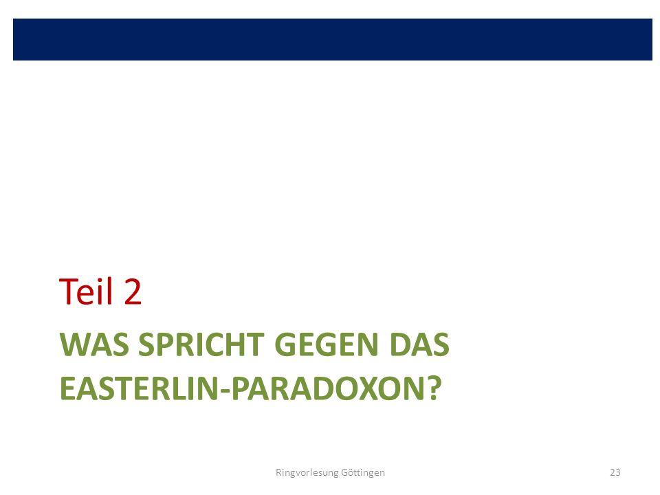 Was spricht gegen das Easterlin-Paradoxon
