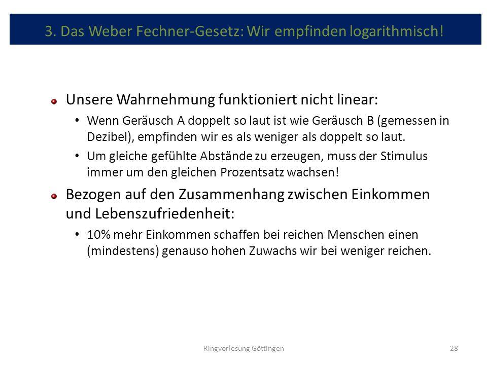 3. Das Weber Fechner-Gesetz: Wir empfinden logarithmisch!