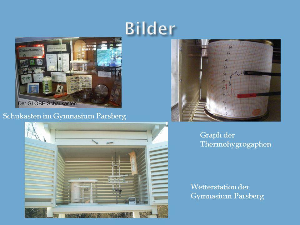 Bilder Schukasten im Gymnasium Parsberg Graph der Thermohygrogaphen