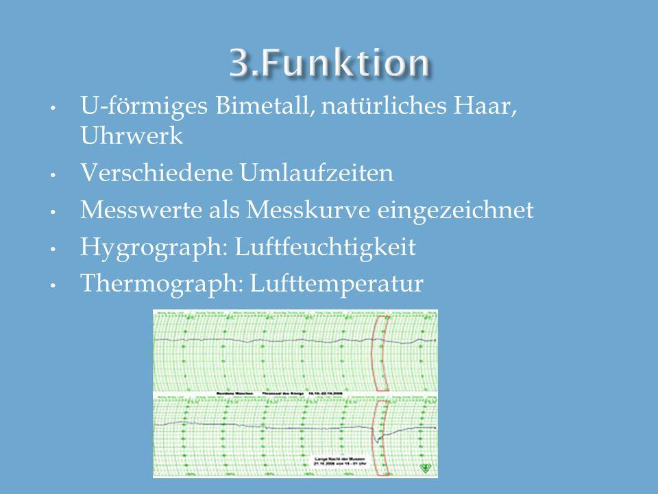3.Funktion U-förmiges Bimetall, natürliches Haar, Uhrwerk