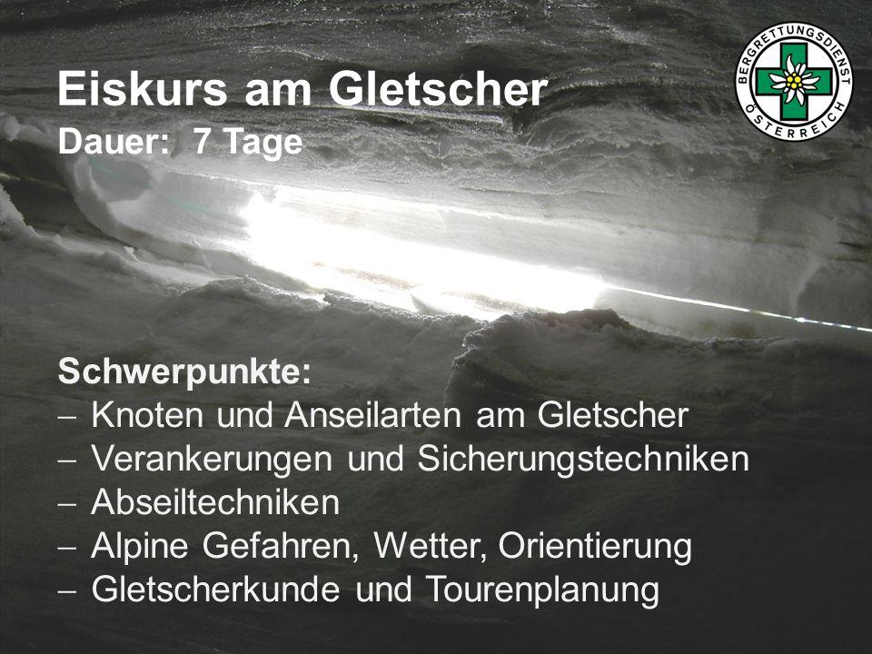 Eiskurs am Gletscher Dauer: 7 Tage Schwerpunkte: