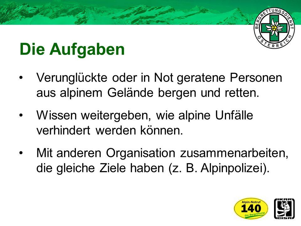 Die Aufgaben Verunglückte oder in Not geratene Personen aus alpinem Gelände bergen und retten.