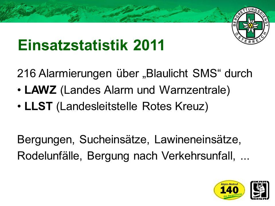 """Einsatzstatistik 2011 216 Alarmierungen über """"Blaulicht SMS durch"""